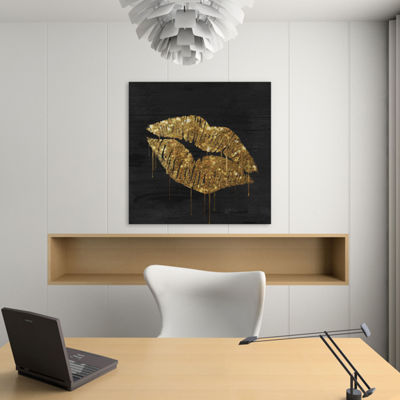 Golden Lips by Color Bakery Canvas Print