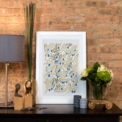Blue Gold Olive Branches Artprint by Cat Coquillette White Framed Fine Art Paper Print