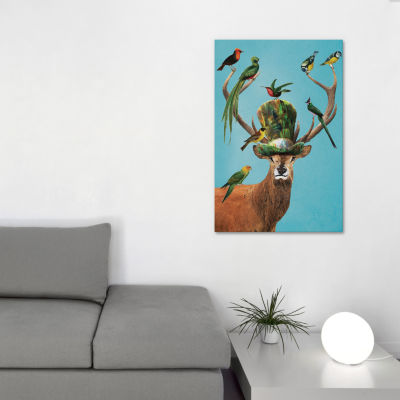 Deer With Birds by Coco de Paris Canvas Print