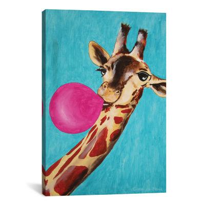 Giraffe With Bubblegum by Coco de Paris Canvas Print