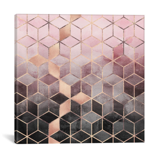 Pink And Grey Cubes by Elisabeth Fredriksson Canvas Print