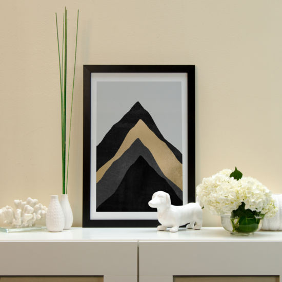 Four Mountains by Elisabeth Fredriksson Black Framed Fine Art Paper Print