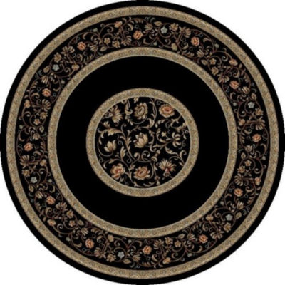 Concord Global Trading Ankara Collection Floral Border Round Area Rug