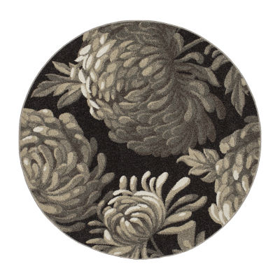 Concord Global Trading New Casa Collection Flowers Round Area Rug