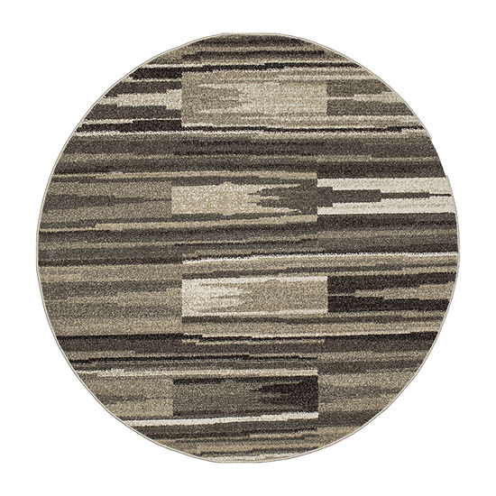 Concord Global Trading New Casa Collection Patch Stripes Round Area Rug
