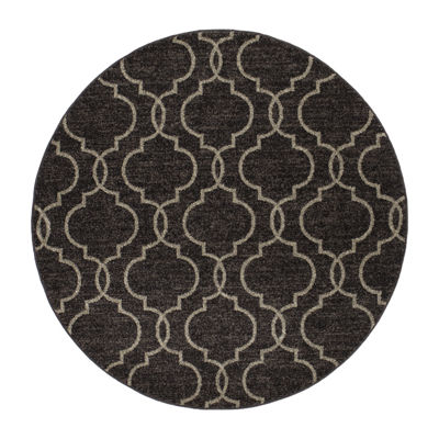 Concord Global Trading New Casa Collection Quatrefoil Round Area Rug