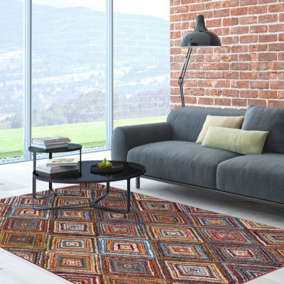 Concord Global Trading Diamond Collection SterlingMulti Area Rug