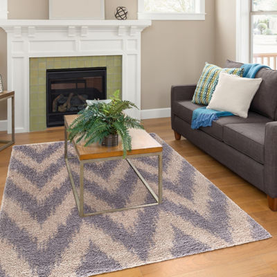 Concord Global Trading Plush Collection Chevron Area Rug