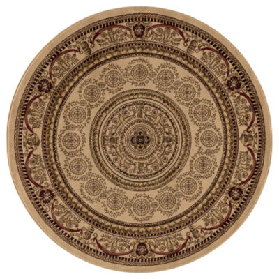 Concord Global Trading Jewel Collection Aubusson Round Area Rug