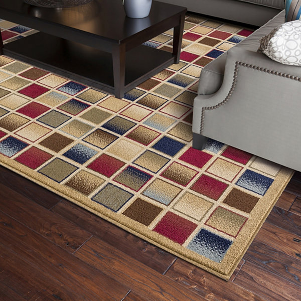 Concord Global Trading Jewel Collection Checkboard Area Rug