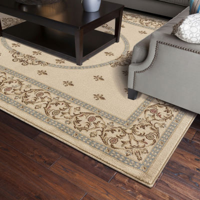 Concord Global Trading Jewel Collection Fleur De Lys Medallion Area Rug