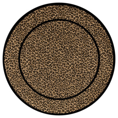 Concord Global Trading Jewel Collection Leopard Round Area Rug