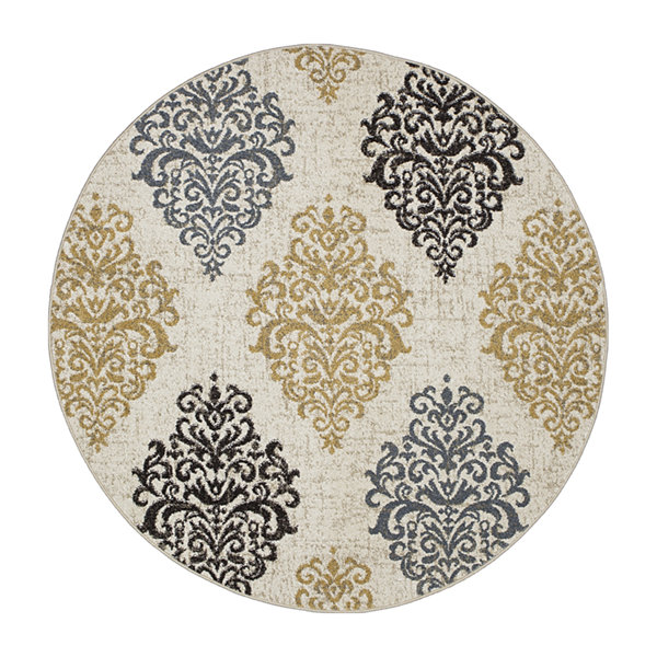 Concord Global Trading New Casa Collection Damask Round Area Rug