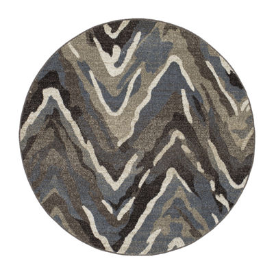 Concord Global Trading New Casa Collection Waves Round Area Rug