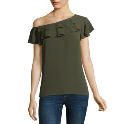a.n.a Ana Ruffle One Shoulder Top Short Sleeve Crew Neck Woven Blouse