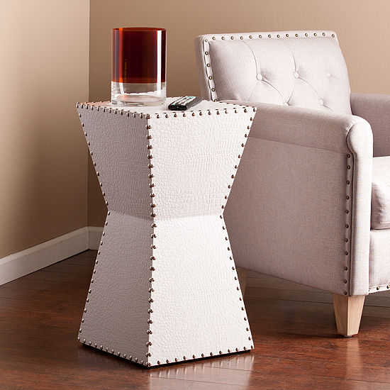 Southlake Furniture White Faux Leather Accent Table