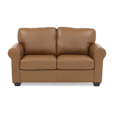 Leather Possibilities Quick Ship Roll-Arm Loveseat
