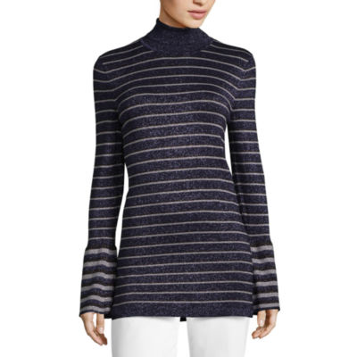 Worthington Long Sleeve Turtleneck Stripe Pullover Sweater