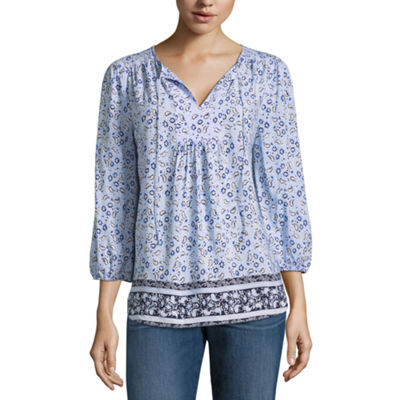 St. John's Bay Womens Split Crew Neck 3/4 Sleeve Woven Blouse