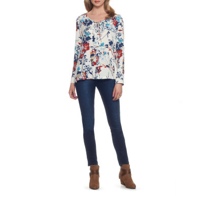 Skye's The Limit Monte Carlo Long Sleeve Ruffle Neck Floral Blouse-Plus