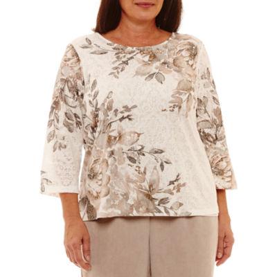 Alfred Dunner Eskimo Kiss Asymmetrical Floral T-Shirt- Plus