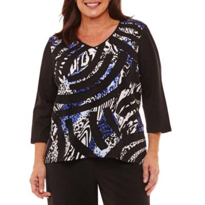 Alfred Dunner High Roller 3/4 Sleeve V Neck Patchwork T-Shirt-Womens Plus