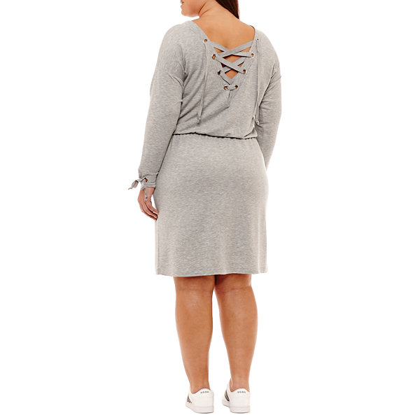 City Streets Wear 2-Ways Lace Up Dress Long Sleeve Sweater Dress - Plus