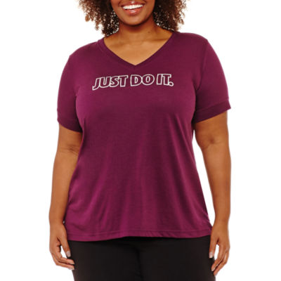 Nike Short Sleeve V Neck T-Shirt-Womens Plus