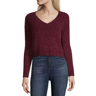 Arizona Womens Round Neck Long Sleeve Pullover Sweater-Juniors