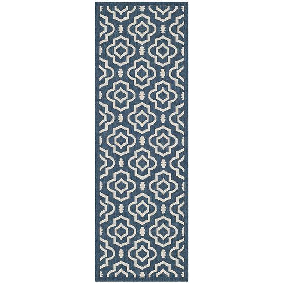 Safavieh Courtyard Collection Meryll Geometric Indoor/Outdoor Runner Rug