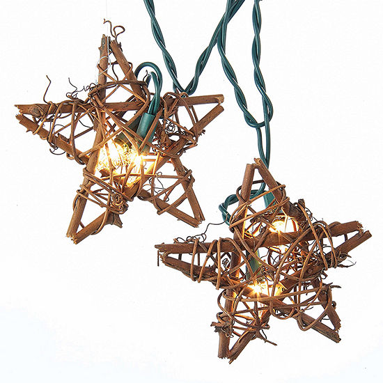 Kurt Adler Rattan Natural Star Light Set
