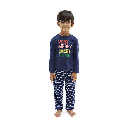 North Pole Trading Co. Very Merry Unisex 2-pc. Christmas Pajama Set, 4t , Blue