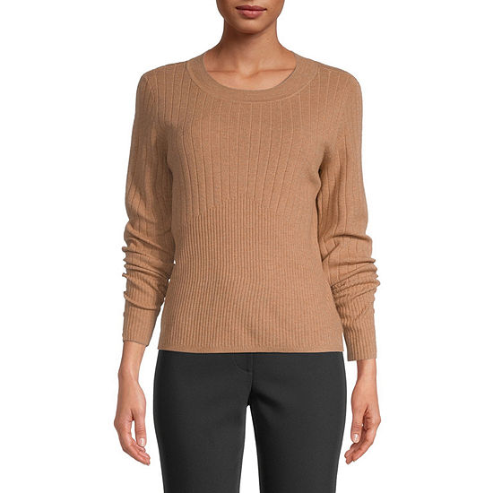 Liz Claiborne Womens Button Sleeve Ribbed Sweater - Tall