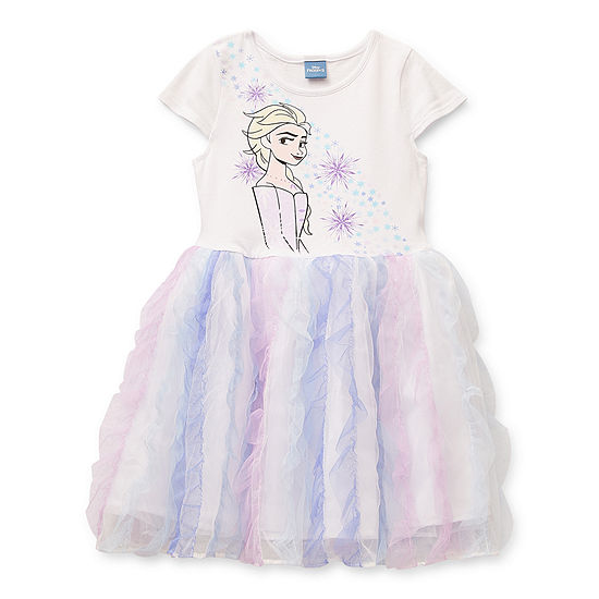 Disney Little & Big Girls Short Sleeve Frozen Tutu Dress