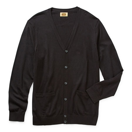 The Foundry Big & Tall Supply Co. Mens Long Sleeve Cardigan, Large Tall , Black