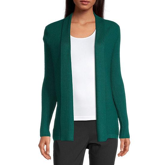 Liz Claiborne-Tall Womens Long Sleeve Open Front Cardigan