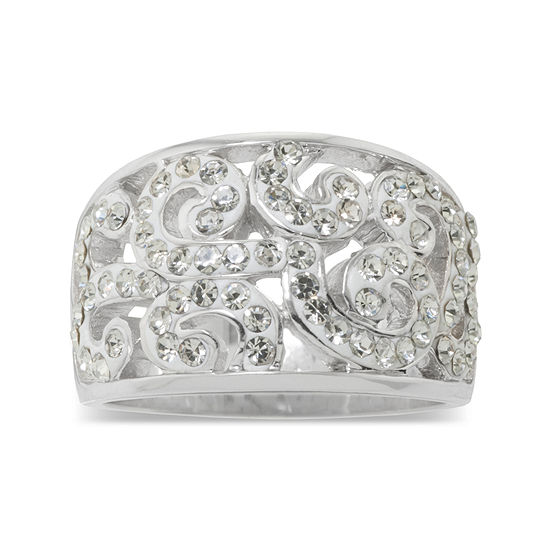 Sparkle Allure Pure Silver Over Brass Crystal Scroll Ring
