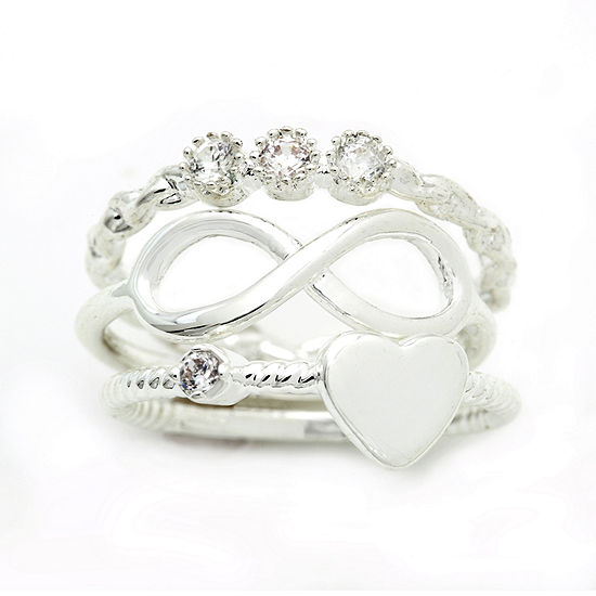 the skinny® Silver-Plated 3-pc. Midi Ring Set