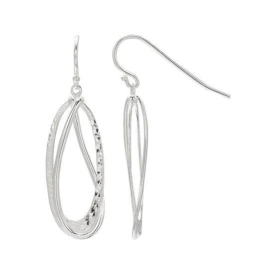 Sterling Silver Diamond-Cut Oval Double-Hoop Earrings