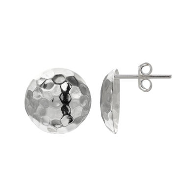 Sterling Silver Hammered Dome Stud Earrings