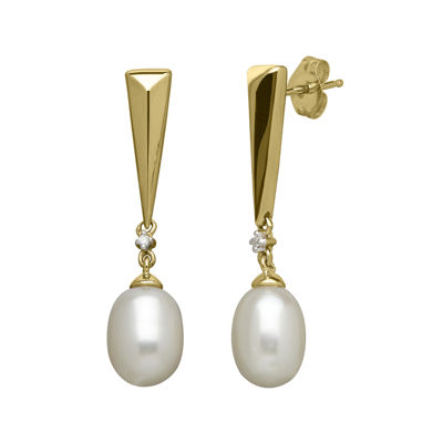 Certified Sofia™ Cultured Freshwater Pearl & 1/10 CT. T.W. Diamond Earrings