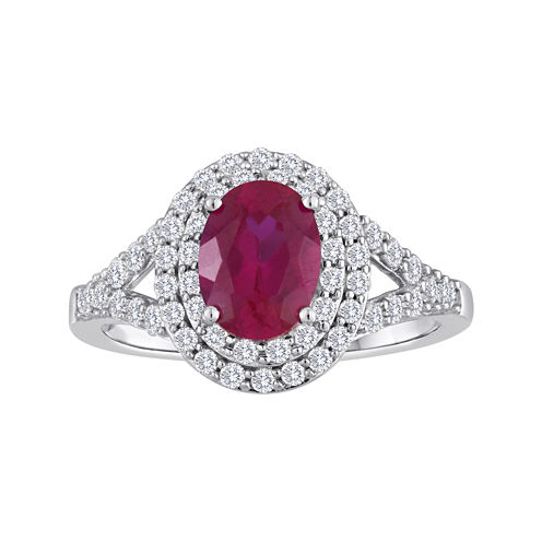 Lab-Created Ruby & Lab-Created White Sapphire Double Halo Ring in Sterling Silver
