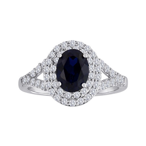 Lab-Created Blue & Lab-Created White Sapphire Double Halo Sterling Silver Ring