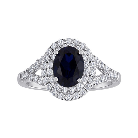 Blue & White Lab-Created Sapphire Double Halo Sterling Silver Ring