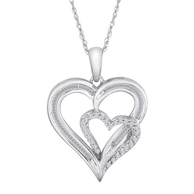 1/4 CT. T.W. Diamond 10K White Gold Double Heart Pendant Necklace