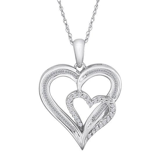 1/4 CT. T.W. Diamond 10K White Gold Double Heart Pendant Necklace