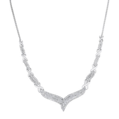 "1/2 CT. T.W. Diamond Sterling Silver ""X"" Necklace"