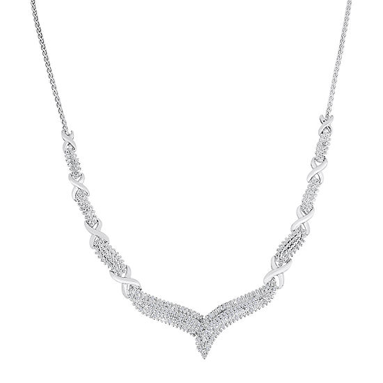 """1/2 CT. T.W. Diamond Sterling Silver """"X"""" Necklace"""