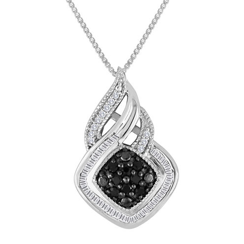 1/3 CT. T.W. White & Color-Enhanced Black Diamond Sterling Silver Pendant