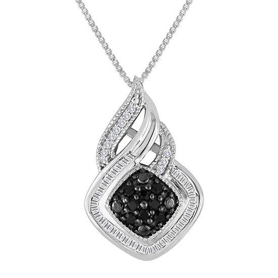 1/3 CT. T.W. White & Color-Enhanced Black Diamond Sterling Silver Pendant